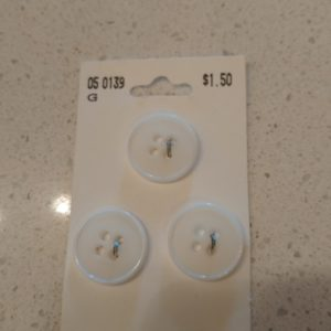 White Buttons – 18mm (pack/3)