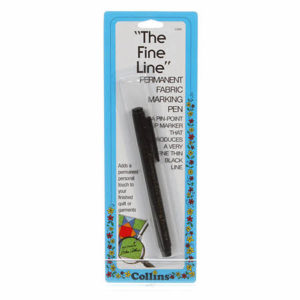 Fine Line Permanent Fabric marking pen – Black