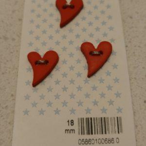 Heart Buttons – 18mm  (pack/3)