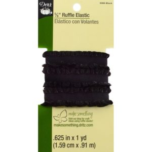 RUFFLE ELASTIC – 1 yard x .625in,    BLACK