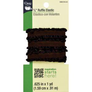 RUFFLE ELASTIC – 1 yard x .625in,    BROWN