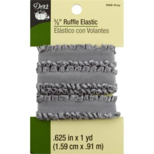 RUFFLE ELASTIC – 1 yard x .625in,    GREY