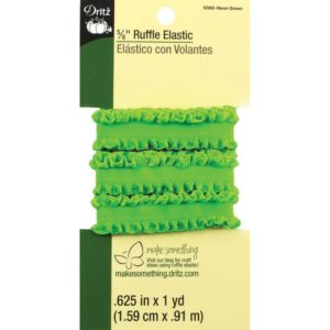 RUFFLE ELASTIC – 1 yard x .625in,    NEON GREEN